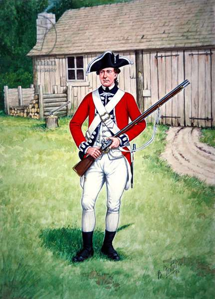 Private, Third Foot Guards, British Army, 1777, armed with the flintlock 'Brown Bess' musket, 1992 (w/c on paper)