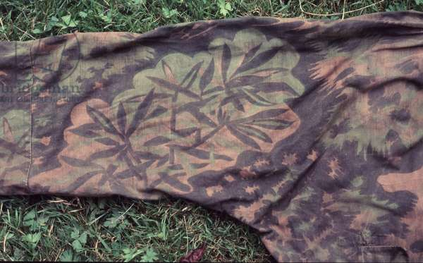 Sleeve of German camouflaged smock, showing detail of Palmenmuster or palm tree pattern (textile)