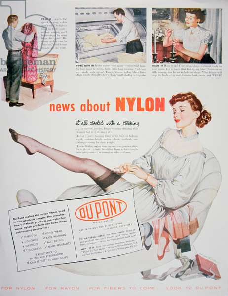 Advert for Nylon, issued by DuPont, 1948 (colour litho)