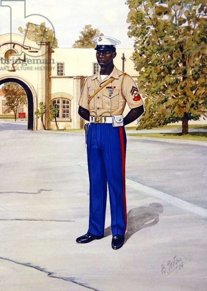 Uniforms of the United States Marine Corps: Corporal, Marine Corps Security Force, 1989 (w/c on paper)