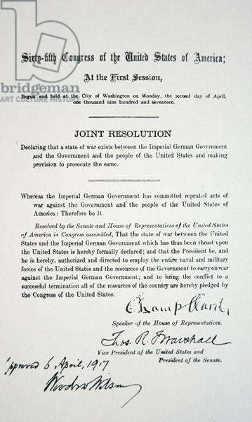 Declaration of war between USA and Germany, signed by Woodrow Wilson (1856-1924) 6th April 1917 (print)