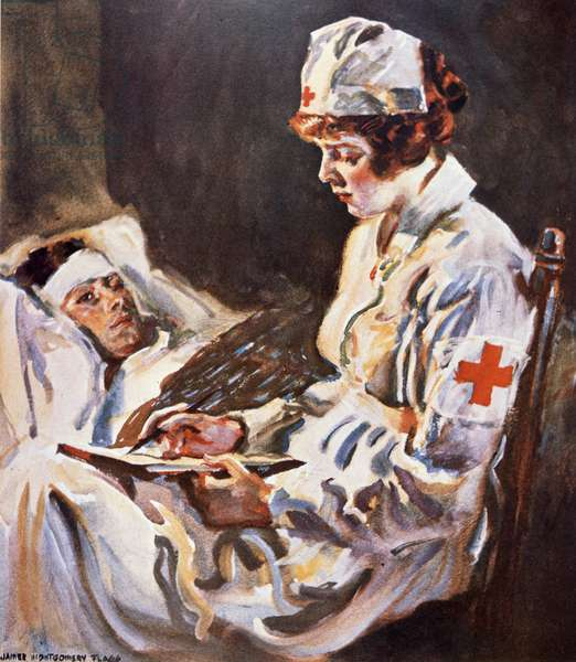 American Red Cross Nurse in the First World War (w/c on paper)