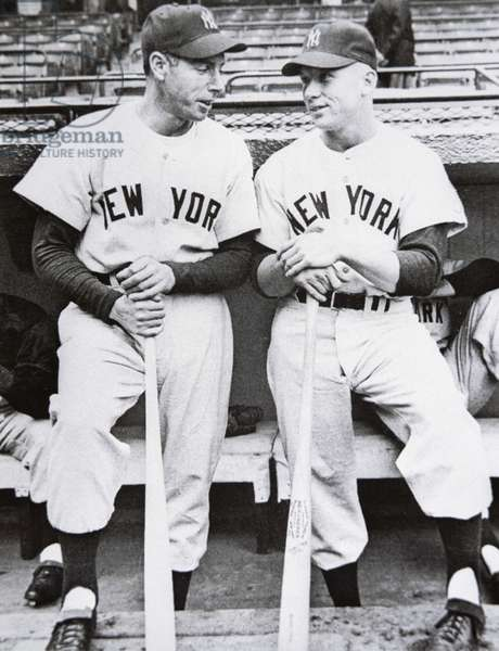 Joe DiMaggio (left) of the New York Yankees with teammate Mickey Mantle, 1951 (b/w photo)