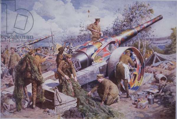 Camouflaging a British field gun with paint and netting on the Western Front during WW1, illustration from 'The Sphere', August 1918 (colour litho)