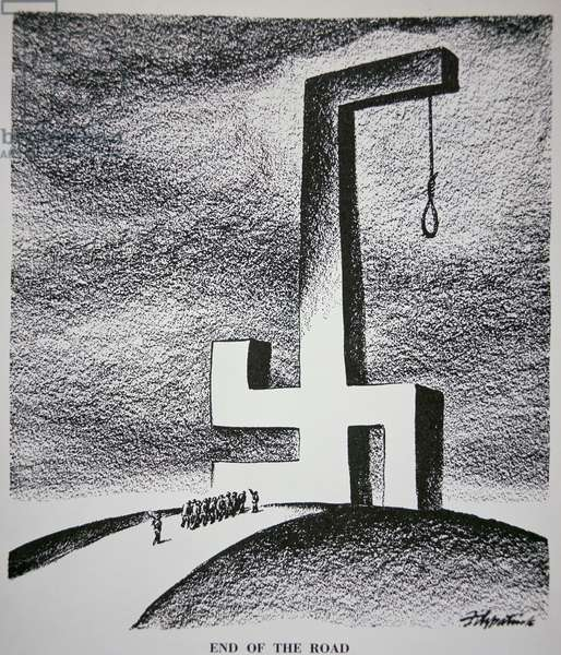 'End of the Road', American Cartoon, 1946 (b/w litho)