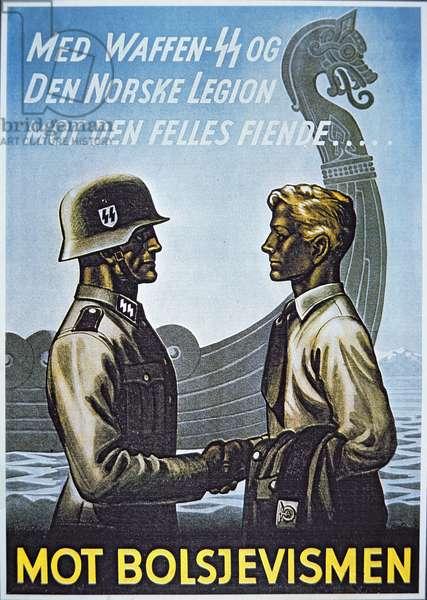 German SS WW2 recruitment poster for the Norwegian Legion (colour litho)