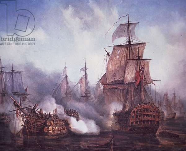 Battle of Trafalgar in 1805 (colour litho)