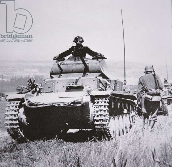 German Panzer PzKpw 1A during the invasion of France, 1940 (b/w photo)