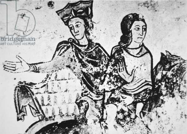 Eleanor of Aquitaine with a riding companion (mural)