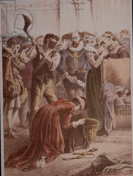 Mary Queen of Scots beheaded at Fotheringhay Castle in 1587 (colour litho)