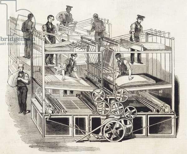 Printing press machine, 1843 (engraving)