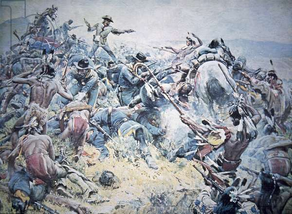 'Custer's Last Fight' at the battle of Little Bighorn, 25th June 1876 (oil on canvas)