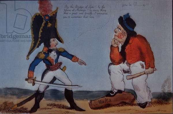British sailor defies Napoleon over Malta, 1803 (colour litho)