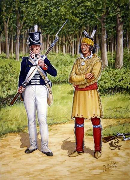 A Shawnee warrior and a Private of 4th Regiment of US Infantry in 1812, from a set of six tableaux, 1991 (colour litho)