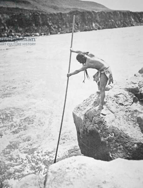 Chinook People Spearing Salmon in the Columbia River (b/w photo)