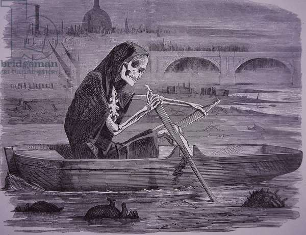 Cartoon commenting on death in London coming from disease in the polluted Thames, 1858 (wood engraving)