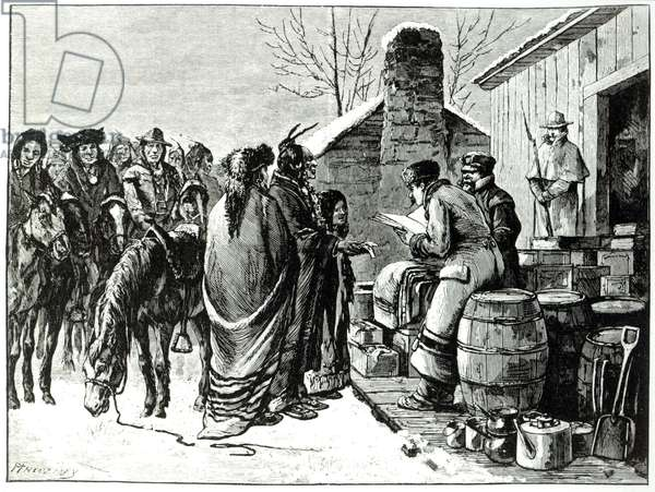 Reservation Indians receving rations from government agents (engraving)