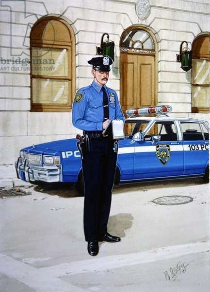 Police Officer in 1990 (colour litho)