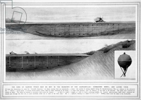 Electro-contact submarine mines, from The Illustrated War News, 31st March 1915 (litho)
