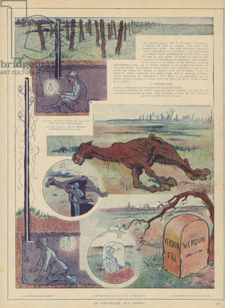 Camouflaged front line outposts for military observers; one disguised as a dead horse, illustration from 'Le Guerre et les Artistes', published c.1920 (colour litho)
