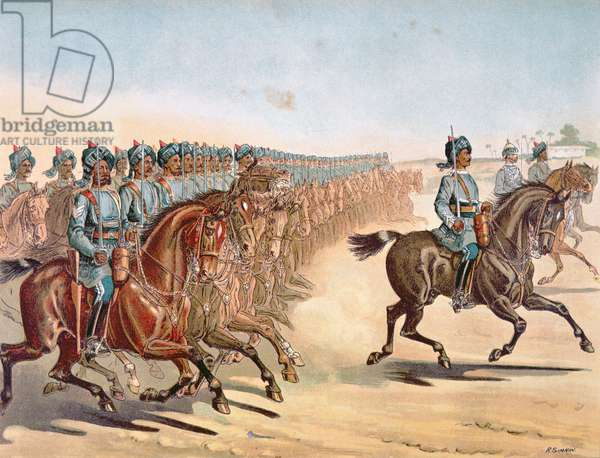 The 3rd Madras Light Cavalry, review order, Anglo-Indian Army of the 1880s (colour litho)