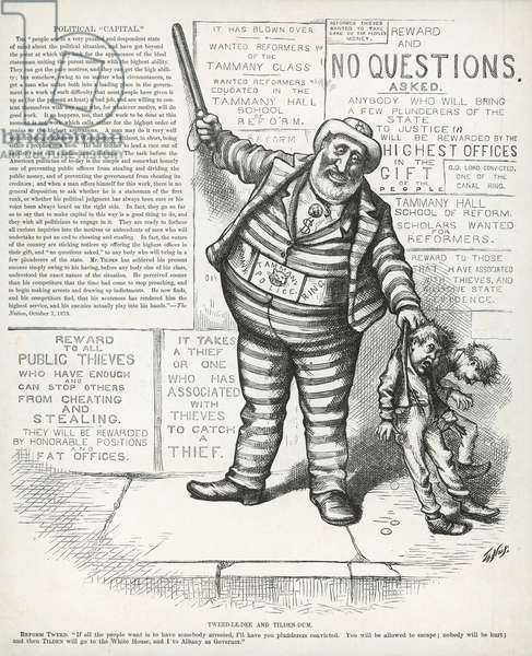 Tweed-le-dee and Tilden-dum, from 'Harper's Weekly', 1st July 1876 (engraving) William M.'Boss' Tweed hugging the figure of Samuel J. Tilden, from 'Harper's Weekly', 1871 (litho)