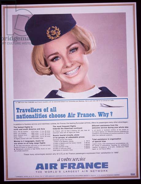 Air hostess features in British advert for Air France, 1966 (colour litho)