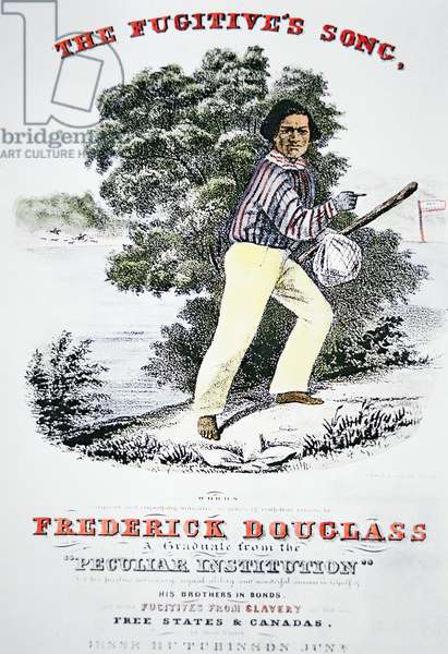 Poster for 'The Fugitive's Song' composed in honour of Frederick Douglass (1818-95) by Jesse Hutchinson Jr. in 1845 (colour litho)