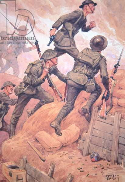 British soldiers 'going over the top' climbing out of a trench and into battle on the Western Front (colour litho)