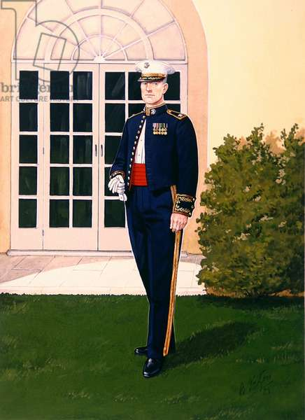 Uniforms of the United States Marine Corps: Colonel in Evening Dress, 1989 (w/c on paper)