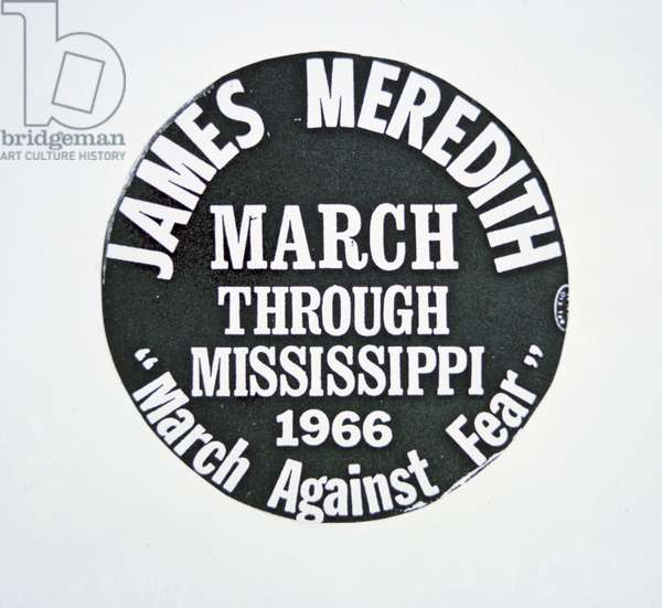 A James Meredith button from the 'March Against Fear' through Mississippi in 1966