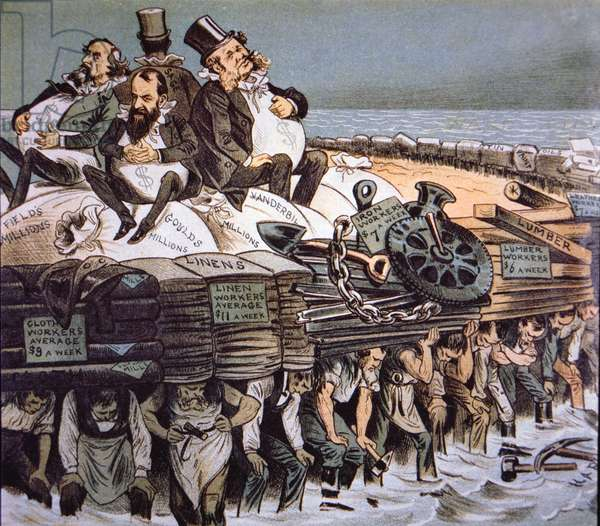 Cartoon depicting William Henry Vanderbilt, Jay Gould and Cyrus Field growing fat on the backs of underpaid workers they control, 1880 (colour litho)