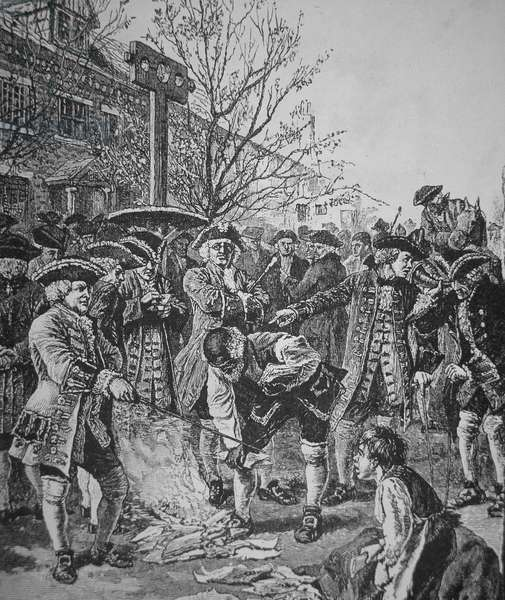 Bostonians burning the Stamped Paper (litho)