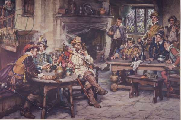 First tobacco smoked in England in the 17th century (colour litho)
