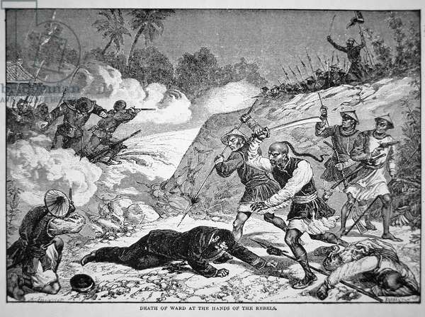 Death of General Ward in the Battle of Tzeki, 20th August, 1862 during the Taiping Rebellion (litho)