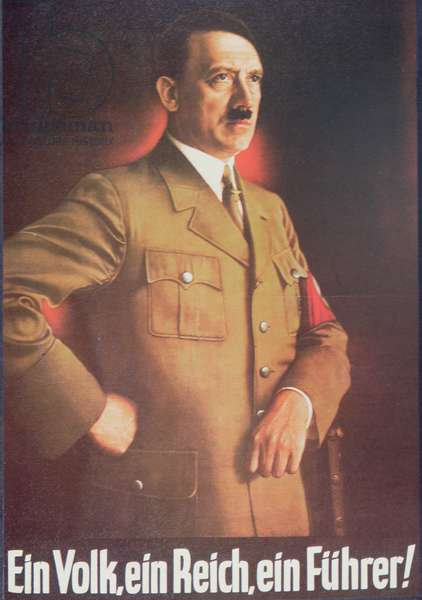 Nazi propaganda poster featuring Adolf Hitler, 1938 (colour litho)