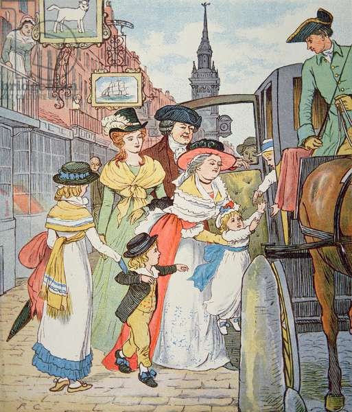 Family life in colonial America - Street scene in Boston (w/c on paper)