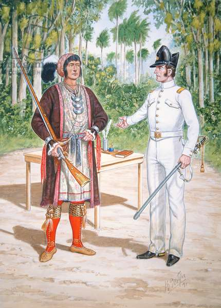 Osceola, Chief of the Seminole People at a treaty with an officer of 2nd Regiment of US Dragoons in Florida, 1837, from a set of six tableaux, 1991 (colour litho)
