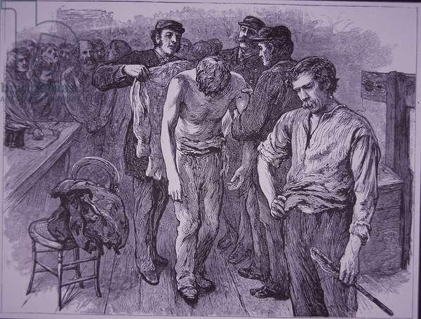 Prisoner whipped in prison (wood engraving)