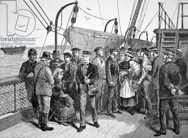 US Government health officers on an emigrant ship, Quarantine Point, New York, 1887 (engraving)