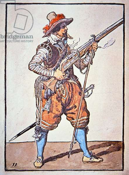 Arquebusier armed with matchlock musket, illustration from 'Manual of Arms', 1607 (hand coloured woodcut)