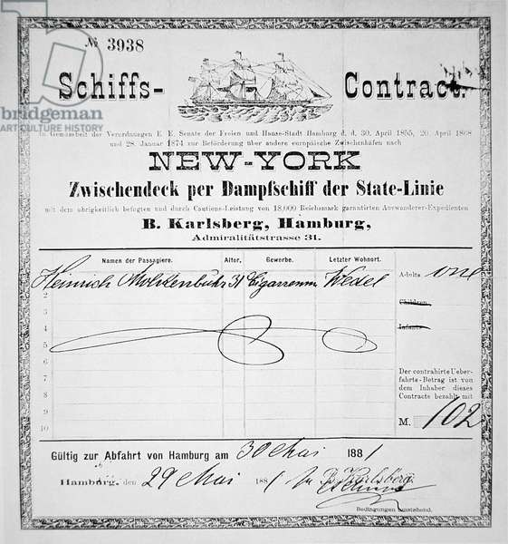 German immigrant ship's contract for New York, issued in Hamburg, 1881 (litho)