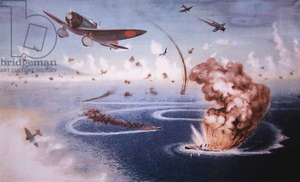 The Battle of the Coral Sea, 1942 - Japanese planes bomb American ships (colour litho)