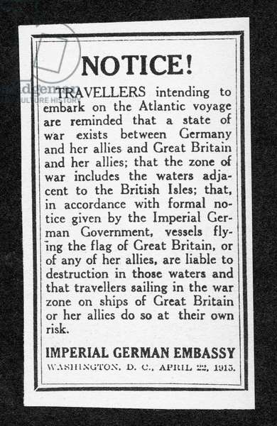 Sailing notice and German warning, New York Herald, 1st May 1915 (litho)