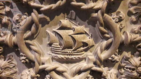 Caravel ship sculpture on Vasco da Gama tomb, Lisbon, Portugal (photo)