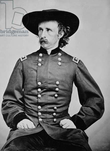 Portrait of General A. Custer (1839-1876) (b/w photo)