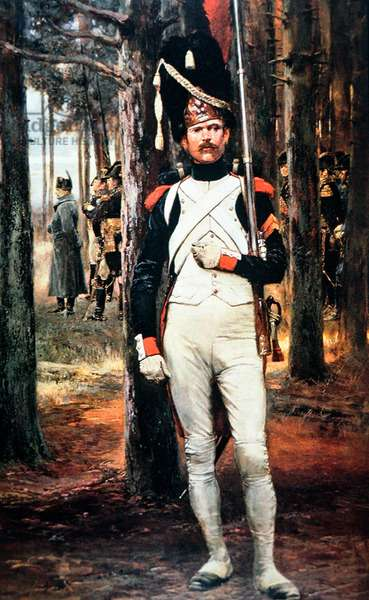 Imperial guardsman of Napoleon's Grand Army, wearing bearskin cap and armed with a Charlesville musket of 1777 (colour litho)