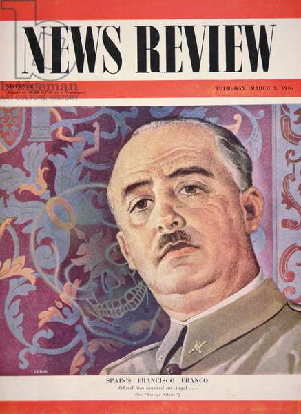Francisco Franco pictured on the cover of 'New Review', published in London, 7th March 1946 (colour litho)