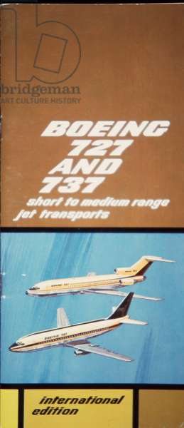 Cover of company promotional booklet for Boeing 727 and 737, 1966 (colour litho)