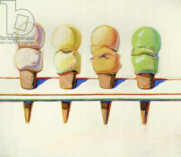Four Ice Cream Cones, 1964 (oil on canvas)